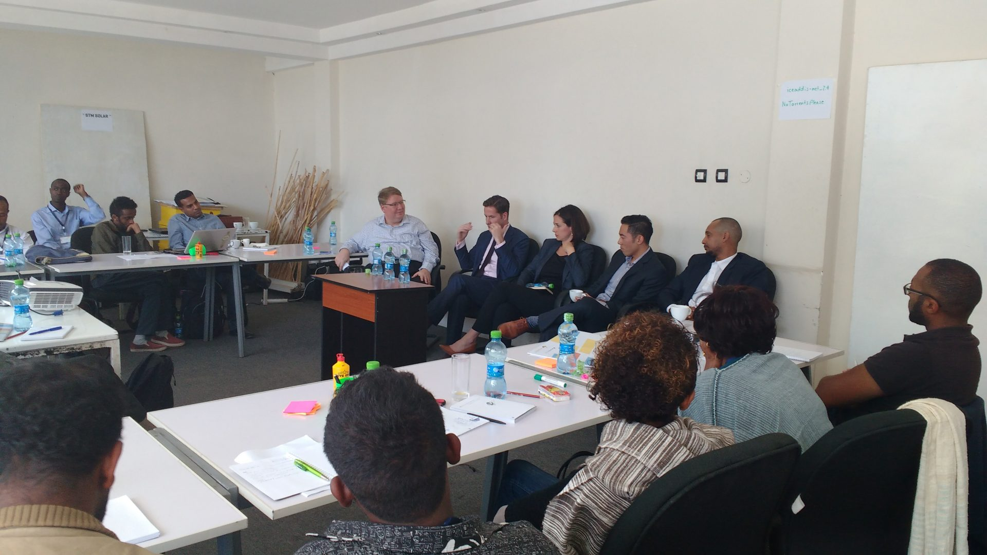 An investor's panel being led by GrowthAfrica Founder and CEO Johnni Kjelsgaard.